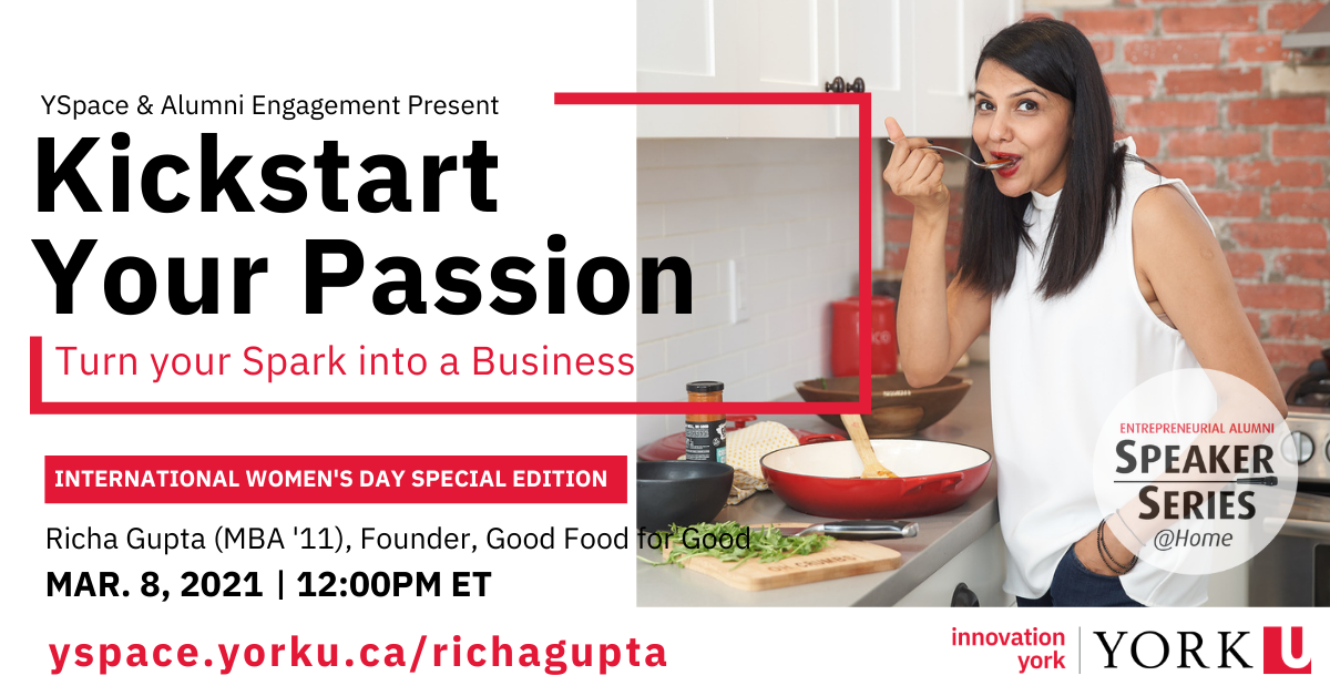 Entrepreneurial Alumni Speaker Series-Kickstart your Passion: Turn your Spark into a Business @ Webinar