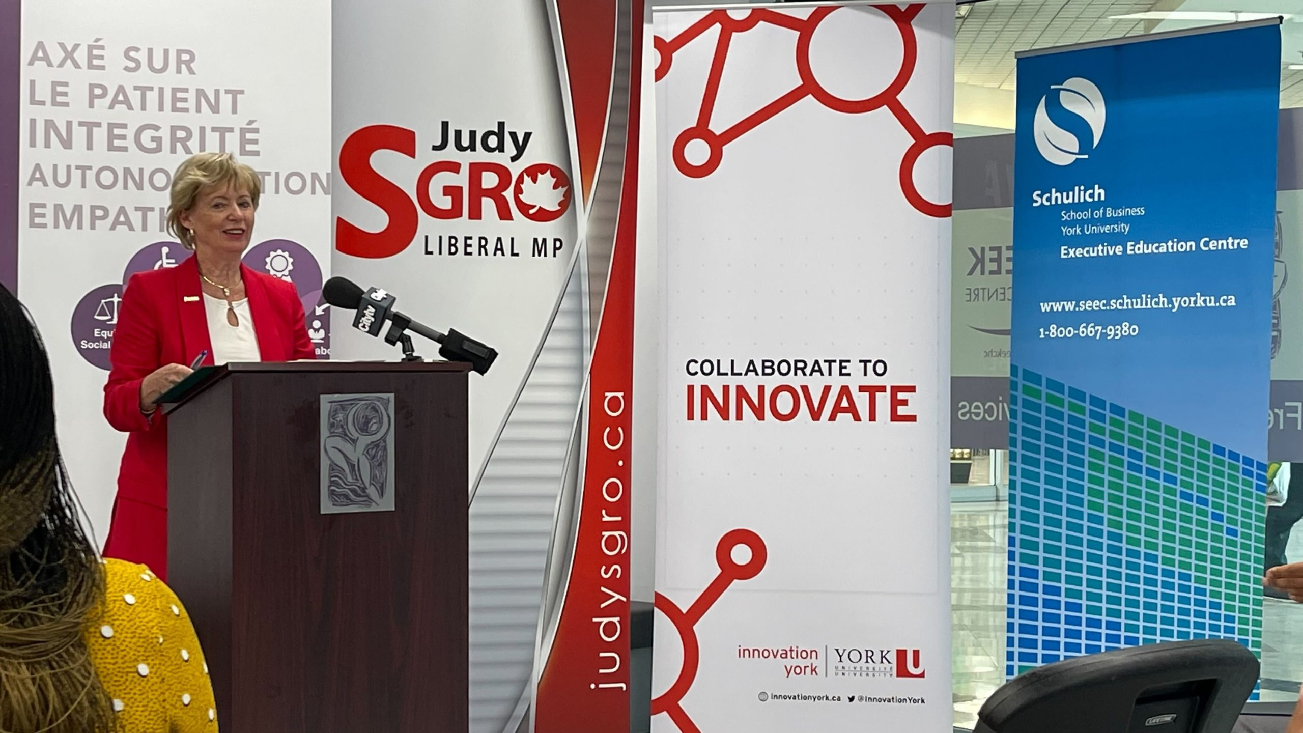 Judy Sgro announcing $3 million in funding for York and Partners from FedDev Ontario's Black Entrepreneurship Fund